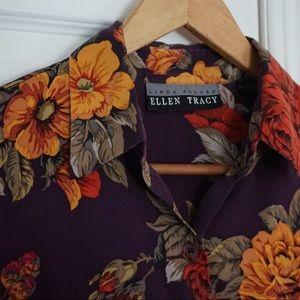 Ellen Tracy Silk floral print button-up longsleeve